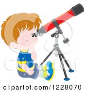 Caucasian Boy Looking Through A Telescope