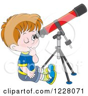 Clipart Of A Boy Looking Through A Telescope Royalty Free Vector Illustration