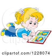 Clipart Of A Blond Girl Reading A Picture Book Royalty Free Vector Illustration
