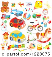 Clipart Of Childrens Toys Royalty Free Vector Illustration by Alex Bannykh