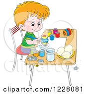 Clipart Of A Caucasian Boy Painting Easter Eggs Royalty Free Vector Illustration