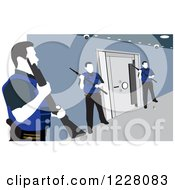Clipart Of Three Guards Around A Safe Vault Royalty Free Vector Illustration by David Rey