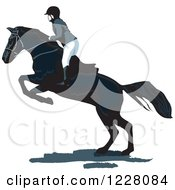 Clipart Of An Equestrian On A Leaping Horse Royalty Free Vector Illustration