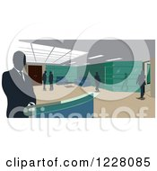 Clipart Of A Silhouetted Business Man And Other People In An Office Royalty Free Vector Illustration by David Rey