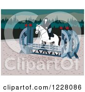 Clipart Of A Person On A Leaping Horse In An Agility Course Royalty Free Vector Illustration