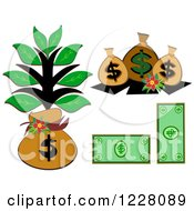 Clipart Of Money Bags And Cash Royalty Free Vector Illustration by bpearth
