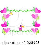 Clipart Of A Floral Heart And Toucan Border Royalty Free Vector Illustration by bpearth