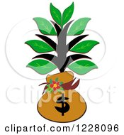 Clipart Of A Tree In A Money Bag Sack Royalty Free Vector Illustration