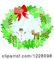 Snowman And Reindeer On A Christmas Wreath