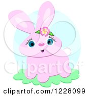 Clipart Of A Cute Pink Bunny Rabbit Royalty Free Vector Illustration by bpearth