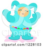 Happy Person In A Turquoise Easter Bunny Suit