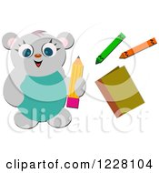 Clipart Of A Happy Bear With Crayons And A Pencil Royalty Free Vector Illustration by bpearth