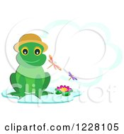 Happy Frog Wearing A Hat On A Lily Pad With A Cloud Frame