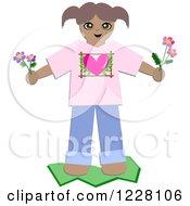 Happy Girl Holding Fresh Picked Flowers