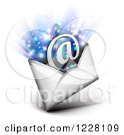 Clipart Of An Email Envelope With An Arobase And Rays Royalty Free Vector Illustration