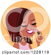 Clipart Of A Black Woman Avatar Applying Lipstick Royalty Free Vector Illustration