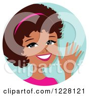 Clipart Of A Young Black Woman Avatar Waving Royalty Free Vector Illustration