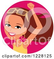 Clipart Of A Young Brunette Woman Avatar Cheering And Wearing Shades Royalty Free Vector Illustration