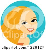 Clipart Of A Young Blond Woman Avatar With Long Hair Royalty Free Vector Illustration
