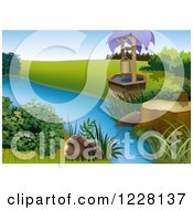 Clipart Of A Water Well By A Creek Royalty Free Vector Illustration by dero