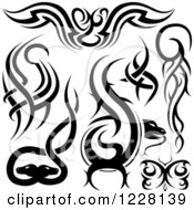Clipart Of Black And White Tribal Tattoo Designs Royalty Free Vector Illustration