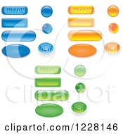Clipart Of Blue Orange And Green Website Buttons Royalty Free Vector Illustration by dero