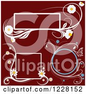 Clipart Of Daisy And Butterfly Frames On Maroon Royalty Free Vector Illustration