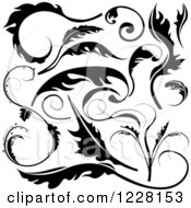 Clipart Of Black And White Floral Scroll Designs Royalty Free Vector Illustration
