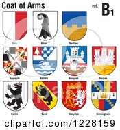 Clipart Of Coats Of Arms 3 Royalty Free Vector Illustration