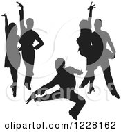 Clipart Of Black Silhouetted Latin Dance Couples 8 Royalty Free Vector Illustration