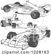 Clipart Of Grayscale F1 Race Cars Royalty Free Vector Illustration by dero
