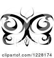 Clipart Of A Black And White Tribal Butterfly Tattoo Design Royalty Free Vector Illustration