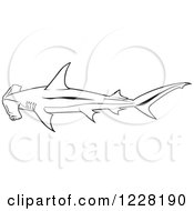 Clipart Of A Black And White Smooth Hammerhead Shark Royalty Free Vector Illustration