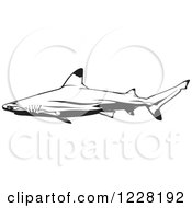 Clipart Of A Black And White Blacktip Reef Shark Royalty Free Vector Illustration