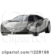 Clipart Of A Silver Cadillac Cien Sports Car Royalty Free Vector Illustration