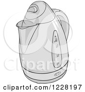 Clipart Of A Grayscale Kettle Royalty Free Vector Illustration