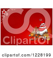 Clipart Of A Christmas Sack Tree On A Sled With Presents On Red Royalty Free Vector Illustration