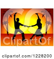 Clipart Of A Silhouetted Latin Dance Couple Over A Sunset With Palm Trees Royalty Free Vector Illustration
