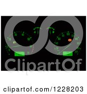 Clipart Of A Green Illuminated Car Dashboard Royalty Free Vector Illustration by dero