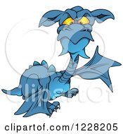 Clipart Of A Pointing Mad Blue Dragon Royalty Free Vector Illustration by dero