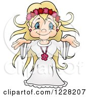 Clipart Of A Blond Fairy Goddess Girl Royalty Free Vector Illustration by dero