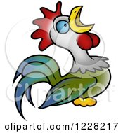 Clipart Of A Rooster Crowing Royalty Free Vector Illustration