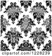 Clipart Of A Seamless Pattern Of Damask In Black And White 6 Royalty Free Vector Illustration