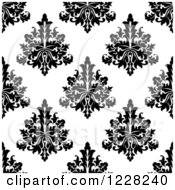 Clipart Of A Seamless Pattern Of Damask In Black And White 7 Royalty Free Vector Illustration