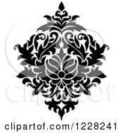 Clipart Of A Black And White Floral Damask Design 44 Royalty Free Vector Illustration