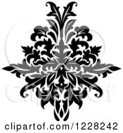 Clipart Of A Black And White Floral Damask Design 43 Royalty Free Vector Illustration