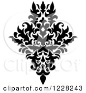 Clipart Of A Black And White Floral Damask Design 41 Royalty Free Vector Illustration