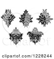 Clipart Of Black And White Floral Damask Designs 10 Royalty Free Vector Illustration