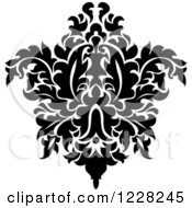 Clipart Of A Black And White Floral Damask Design 45 Royalty Free Vector Illustration