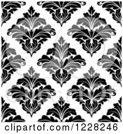 Clipart Of A Seamless Pattern Of Damask In Black And White 8 Royalty Free Vector Illustration